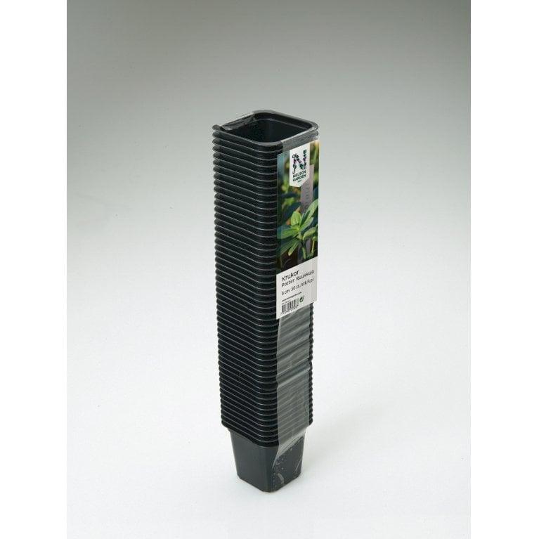 Plastpotte firkantet 7 cm, 25 pk