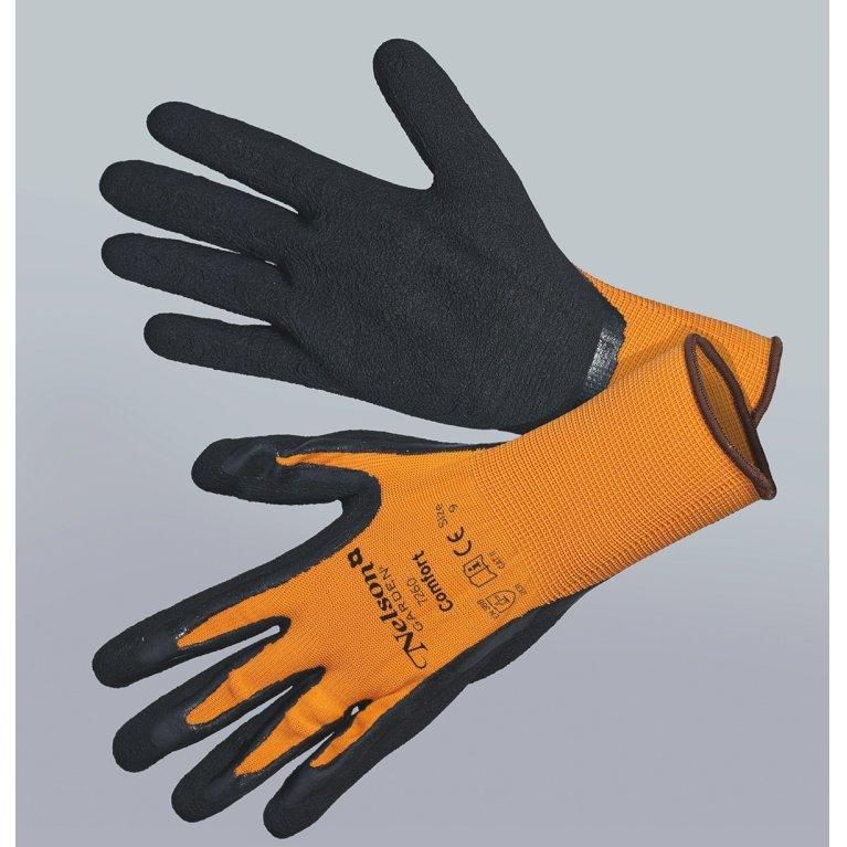 Comfort, orange/sort - Tynd og smidig nylonhandske