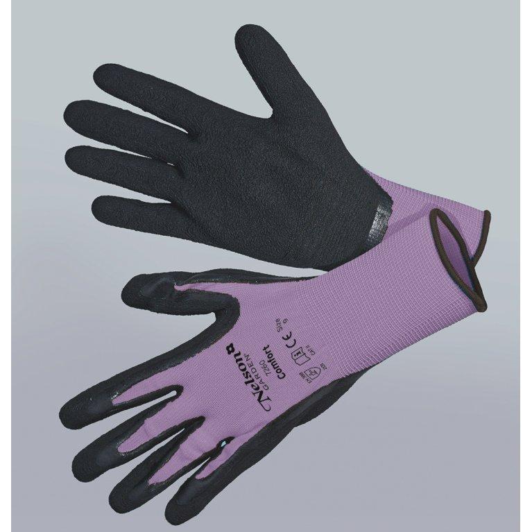 Comfort, lilla/sort - Tynd og smidig nylonhandske