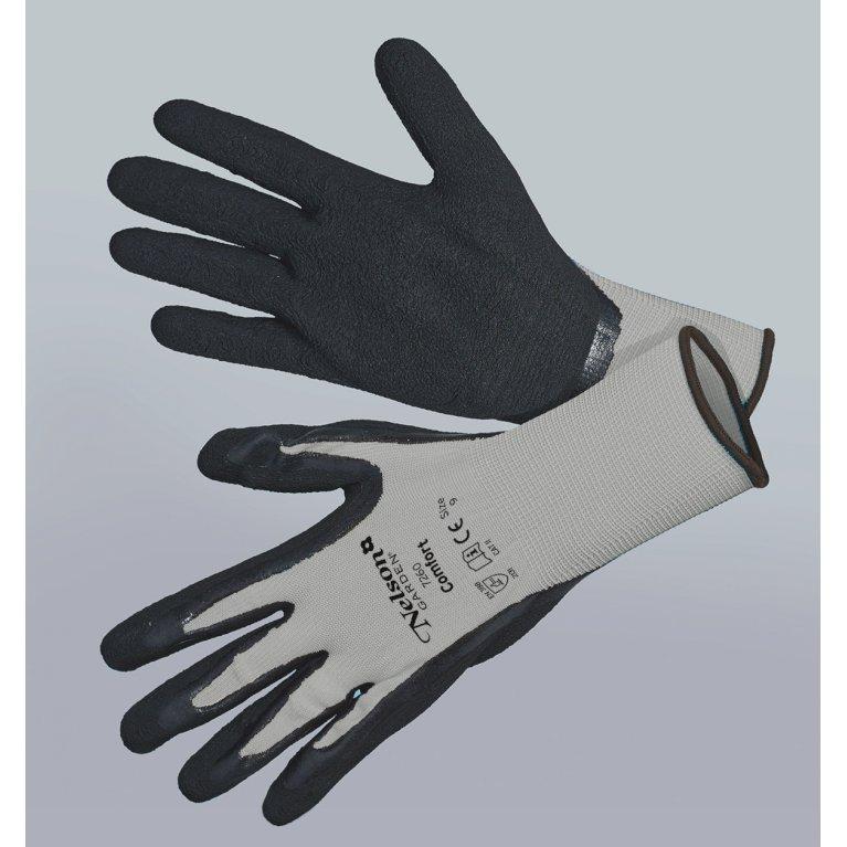 Comfort, grå/sort - Tynd og smidig nylonhandske
