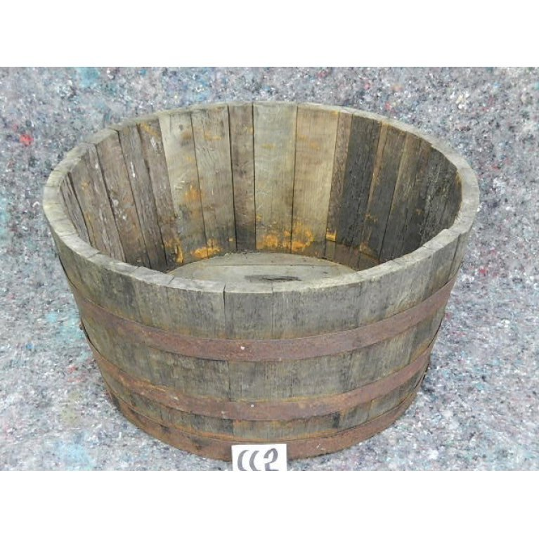 Halv whiskytønde - gammelt træ