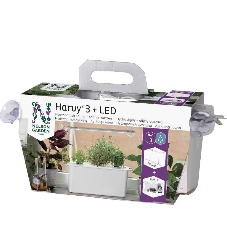 Hydroponisk startpakke med 3 plantehuller og vækstlys