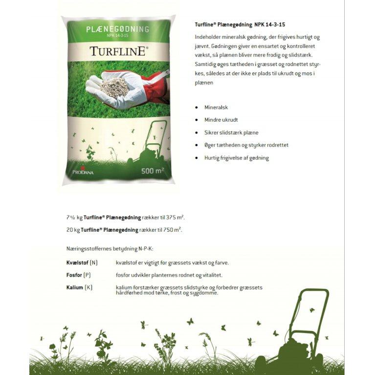 Plænegødning fra Turfline – 15 kg. NPK 14-3-15