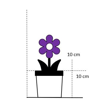 10 cm. firkantet potte - Lilla blomster